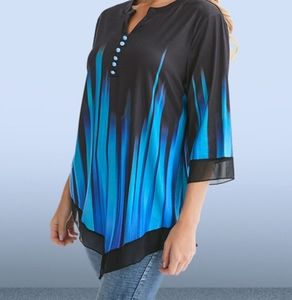 Split Neck with buttons 3/4 sleeve blouse NEW!